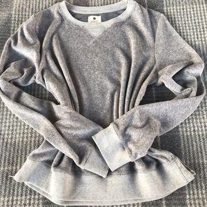 Gray NWOT Sundry two tone velour sweatshirt w/ zip